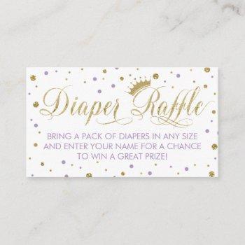 Diaper Raffle Ticket, Princess, Purple Enclosure Card