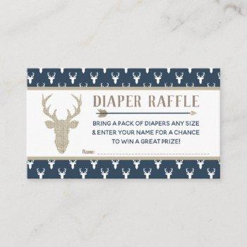 Diaper Raffle, Woodland Deer, Navy Blue, Burlap Enclosure Card