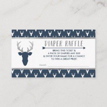 Diaper Raffle, Woodland Deer, Navy Blue, Silver Enclosure Card
