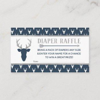 Diaper Raffle, Woodland Deer, Navy, Gray Enclosure Card