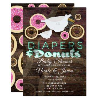 Diapers & Donuts Rustic Wood Party Baby Shower Invitation