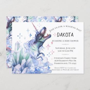 Dinocorn Crystal | Dinosaur Unicorn Baby Shower Invitation