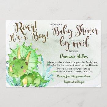 Dinosaur Baby Shower By Mail Invitation