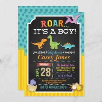 Dinosaur Baby Shower Invitation - Boy