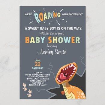 Dinosaur Baby Shower Invitation Dino Baby Boy Blue