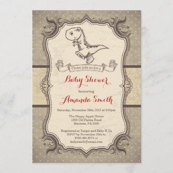 Dinosaur Baby Shower Invitation Vintage Retro