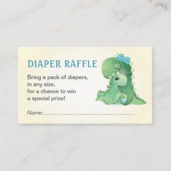 Dinosaur Blue Baby Boy Shower Diaper Raffle Ticket Enclosure Card