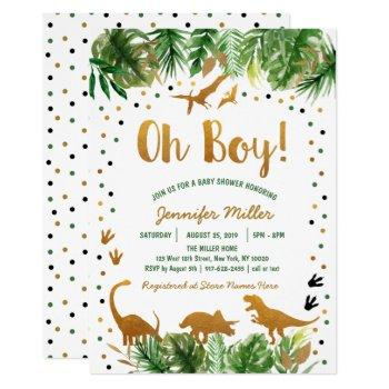 Dinosaur Green & Gold Safari Baby Shower Invitation