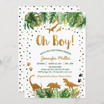 Dinosaur Green & Gold Safari Baby Shower Invitation