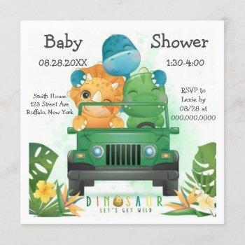Dinosaur Safari Adventure Baby Shower Invitation