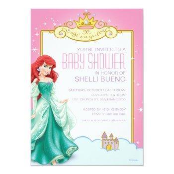 Disney Princess Ariel It's A Girl Baby Shower Invitation