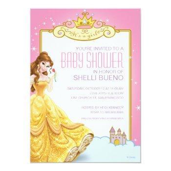Disney Princess Belle It's A Girl Baby Shower Invitation