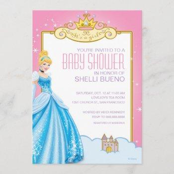 Disney Princess Cinderella It's A Girl Baby Shower Invitation