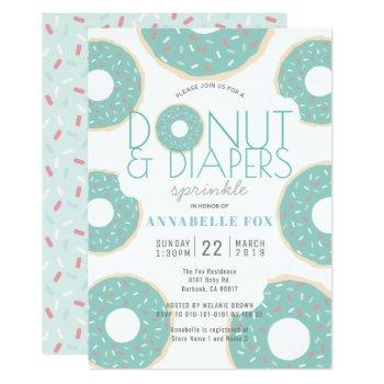 Donut & Diapers Sprinkle Mint Green Baby Shower Invitation