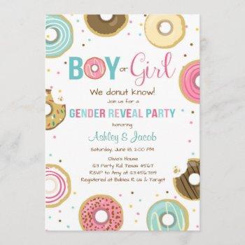 Donut Gender Reveal Invitation Boy Or Girl He She
