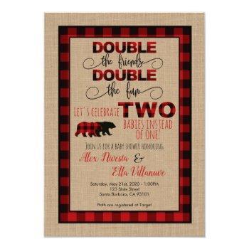 Double Baby Shower Invitation Lumberjack