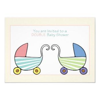 Double Baby Shower Strollers Invitation