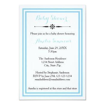 Double Blue Trim  - 3x5 Baby Shower Invitation