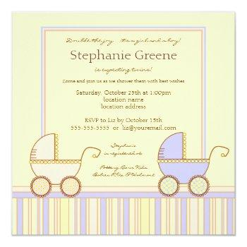 Double Carriage Twin Girl Boy Shower Invitation