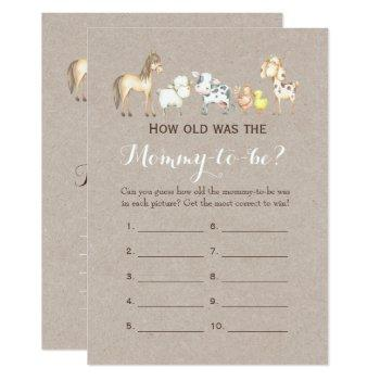 Double Side- 2 Baby Shower Games- How Old | Advice Invitation