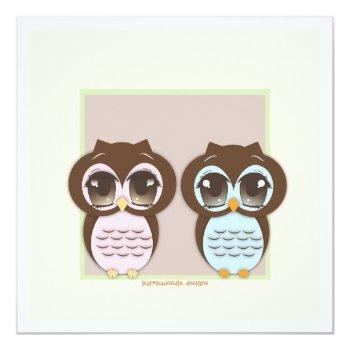 Double The Joy!  Twin Owl Boy Girl Baby Shower Invitation