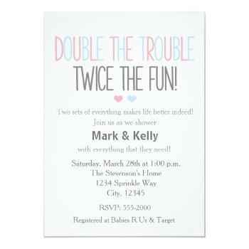Double The Trouble Twins Baby Shower Invitation