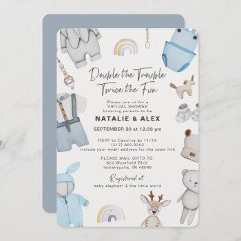 Double Trouble Clothes Twin Boy Virtual Shower Invitation