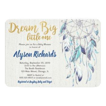 Dreamcatcher Dream Big Little One Baby Shower Boy Invitation