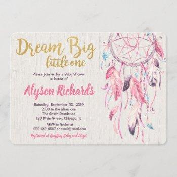 Dreamcatcher Dream Big Little One Baby Shower Girl Invitation