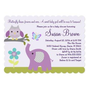 Dreamland Owl Elephant Baby Shower Invite