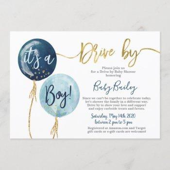 Drive By Baby Shower Boy Invitation
