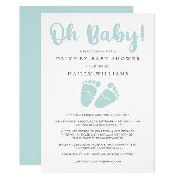 Drive By Baby Shower | Oh Baby Baby Feet Mint Invitation