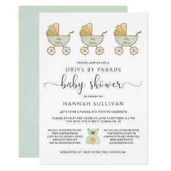 Drive By Baby Shower | Retro Carriage Green Gold Invitation