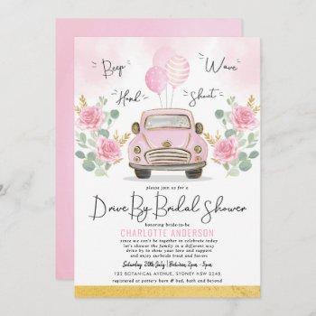 Drive By Bridal Shower Pink Floral Vintage Car Invitation