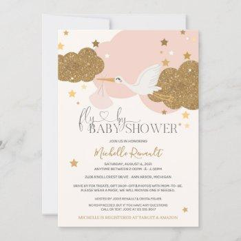 """Drive By """"fly By"""" Stork Pink Gold Girl Baby Shower"""