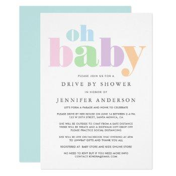 Drive By Shower   Oh Baby Pastel Minimal Modern Invitation