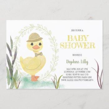 Duckling Boy Baby Shower Invitation - Sage