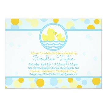Ducky Baby Shower Invitation Blue And Yellow