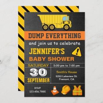 Dump Truck Construction Baby Shower Invitation