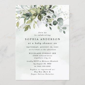 Dusty Blue Eucalyptus Greenery Boho Baby Shower Invitation