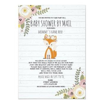 Dusty Floral Shower By Mail Fox Invitation
