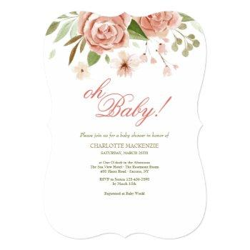 Dusty Rose Baby Shower Invitation