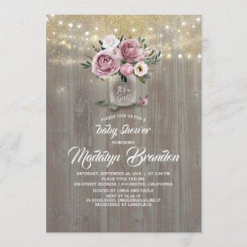 Dusty Rose Floral Mason Jar Rustic Baby Shower