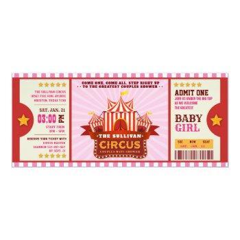 Editable Colour Circus Ticket Couple Shower Invitation