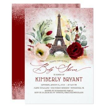 Eiffel Tower Vintage Paris Pink Gold Baby Shower Invitation