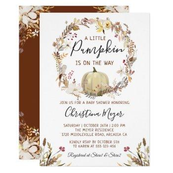 Elegant Autumn Floral Pumpkin Fall Baby Shower Invitation