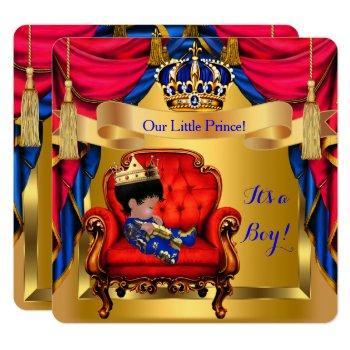 Elegant Baby Shower Boy Prince Royal Blue Red Gold Invitation
