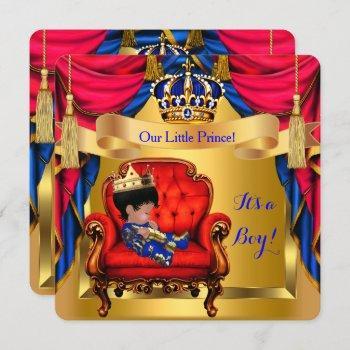 Elegant Baby Shower Boy Prince Royal Blue Red Gold