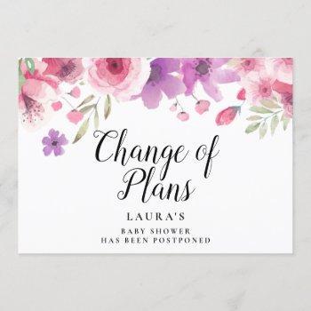 Elegant Baby Shower Floral Change Of Plans Invitation