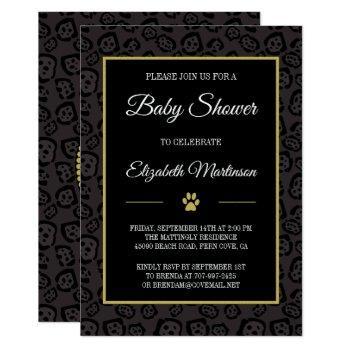 Elegant Black Panther Jaguar Spots Baby Shower Invitation